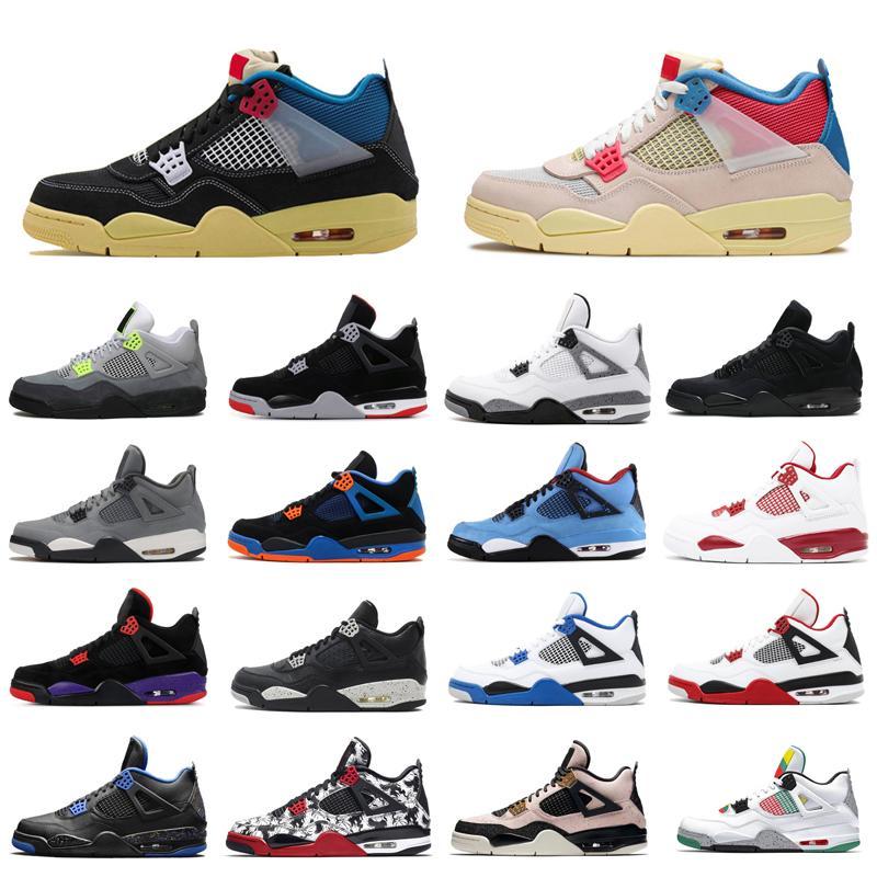 4 فون 4S ولدت jumpman أحذية الرجال لكرة السلة الاتحاد الأسود UAVA ICE الشراع النيون حزمة معدنية اسمنت صبار جاك رجل المدربين الرياضية أحذية رياضية