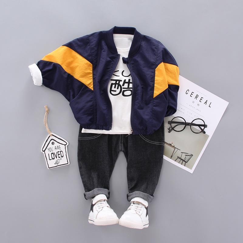 Kinder-Baby Cotton Outfits Sets Mantel + T-Shirt + Hosen-Kind-Junge-Frühlings-Herbst Mode Kleidung