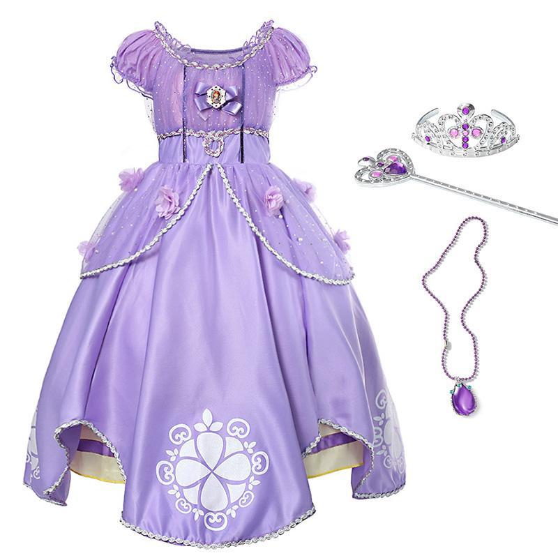YOFEEL 소녀 공주 드레스 아동 장식 조각 꽃 볼 가운 어린이 할로윈 파티 의류 코스프레 만화 의상 드레스