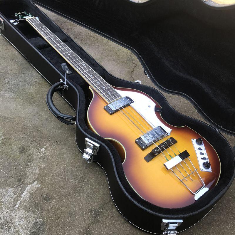 Serie de ignición de envío libre / violín Vintage Bass eléctricos / Flame Maple / Hofner Bass Guitar / En stock / Sunburst / con estuche
