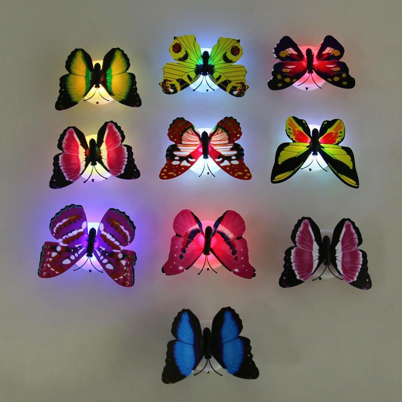 다채로운 변경 나비 LED 밤 빛 램프 나비 LED 벽 스티커 홈 룸 파티 데스크 벽 장식 조명