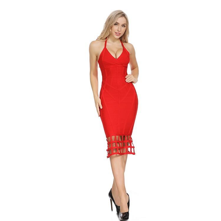 Zwei-Farben mit tiefer V-Bügel-reizvoller Verband-einteiliges Kleid erkundet Beauty Star Bankett Abendkleid für Frauen