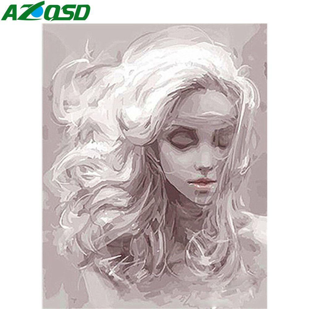 AZQSD unFrame adulto Pintura por número de kits de la lona de la muchacha regalo único DIY colorear por números Retrato de la decoración para el hogar