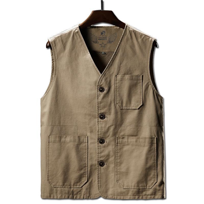 Plus-Size 6XL 7XL 8XL Herren Westen Baumwolle Retro Tooling Ärmel Männer Jacke feste beiläufige Weste mit V-Ausschnitt Herrenbekleidung DS501057