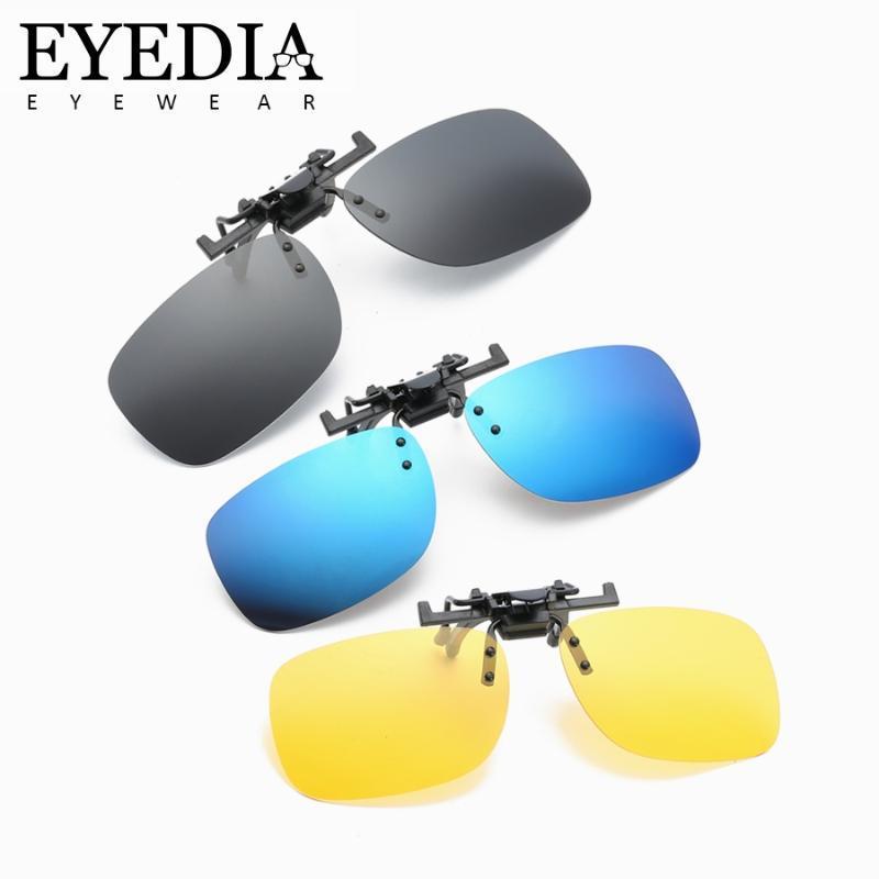 Classica rettangolo miopia Occhiali da sole polarizzati clip Lens Retro guida Notte Vison Giallo Occhiali video de gafas L203CJ