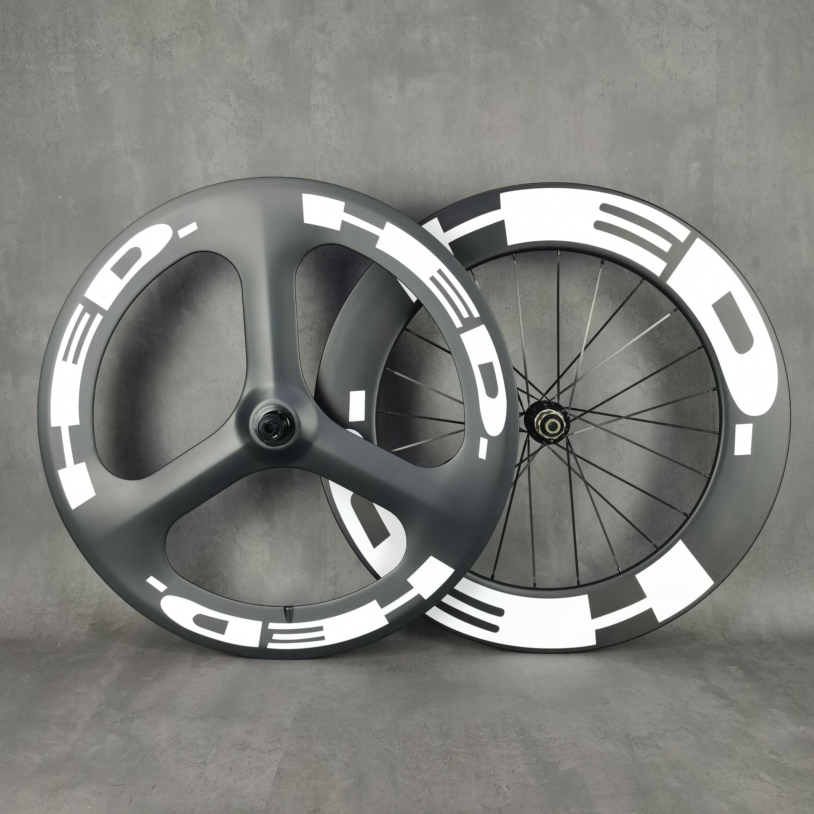 HED 700C الكربون العجلات العجلات ROAS DRIP TRI-تكلم الخلفي 88MM عجلة المسار / الطريق العجلات الفاصلة / tuabular مع UD ماتي النهاية novatec792 hub