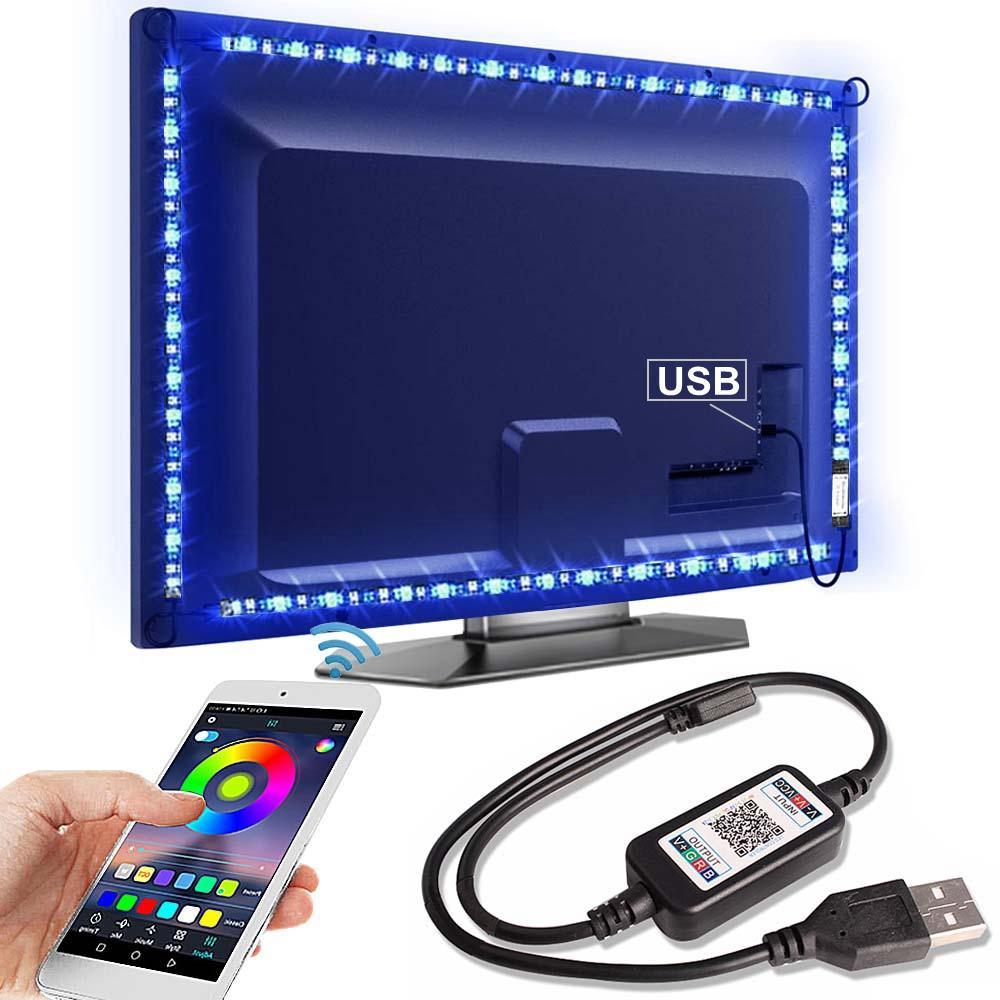 블루투스 RGB LED 스트립 빛 SMD5050 5M 1M 2M 3M 4M 0.5M 다이오드 테이프 유연한 네온 Ledstrip 리본 LED 스트립 USB 5V TV 백라이트