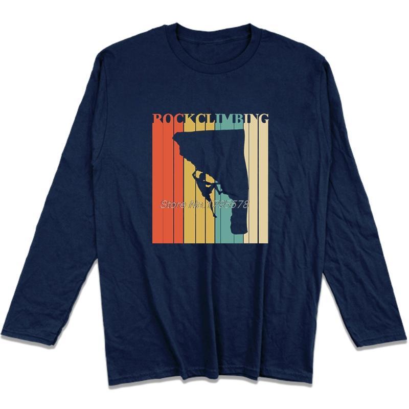 Vintage Rock climbes T-Shirt Fitness Bergsteiger Männer T-Shirt Baumwolle 100% Top-T-Shirt lange Ärmel Markenhemd Street