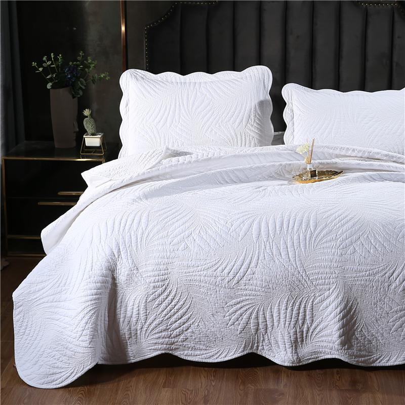 2 / 3шт 100% хлопок белый лист вышитые лоскутное одеяло близнец полный королева королевского размера одеяло Покрывало Покрывало бесплатную доставку H