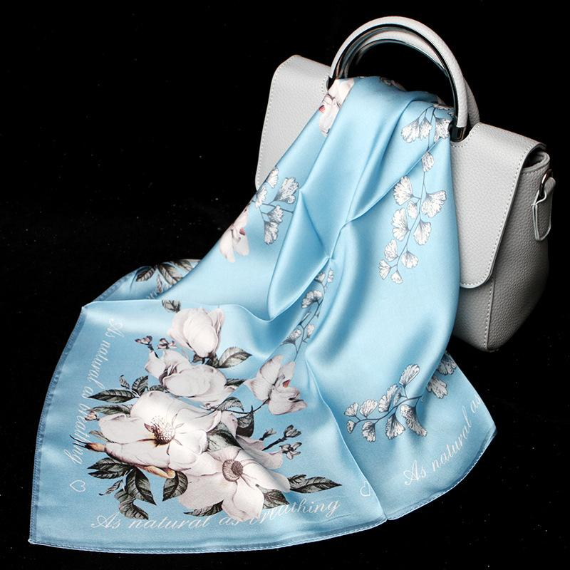 100% Silk Scarf Mulheres Moda Luxo Flor Imprimir pequeno Lenço Cachecóis Lenço para Senhora à moda 53x53cm Bandana