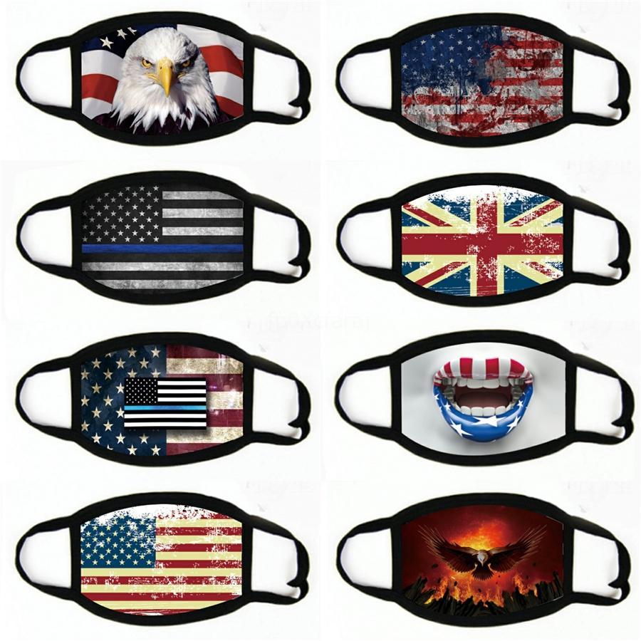 Mode Masque américain Visage Drapeau antipoussière WashableMouth Masque Drapeaux diamant USA Masques bling Masques visage strass # 426