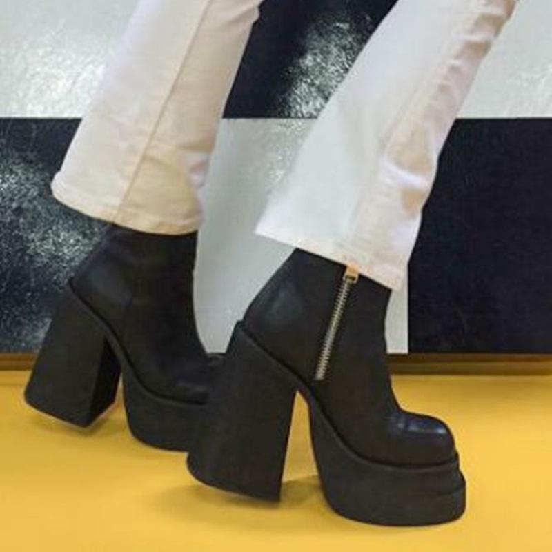 Punky del cuero auténtico mujeres de las botas del tobillo de la cremallera lateral gruesos tacones altos bombas de la plataforma 2020 zapatos de fiesta otoño invierno mujer 34-39