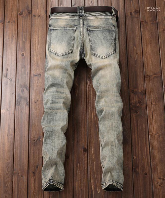 Retro Moto Crimpen Stickerei Steigungs-Hosen-Jeans Designer Herren-Hosen Herren Designer Jeans Spring Fashion Weinlese