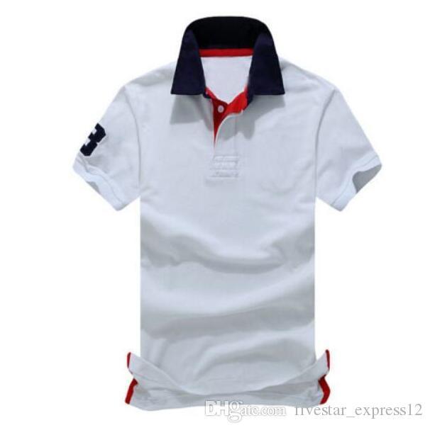 Moda Estilo Americano Men Solid Polo Shirts Big Horse Bordado Classic Manga Casual Polos Casual Camisetas Blanco Azul azul marino S-XXL