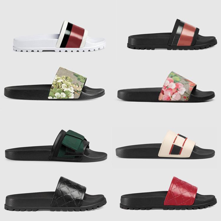 2020 Designer hommes brocart Floral slide caoutchouc pantoufle Gear Flip Flops femmes rayé pantoufles causales plage taille US 5-11