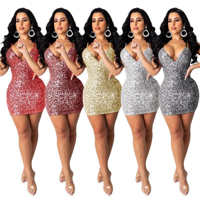 Las mujeres ocasionales BodyCon vestidos de espagueti de la correa de la cremallera Vestidos de moda para mujer Ropa de las lentejuelas Por encima de longitud de la rodilla Vestido lápiz