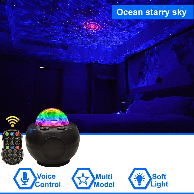 Galaxy Ocean Starry Sky Projector Projector Light Bluetooth Altoparlante Supporto TF MP3 Music Player Xmas Decorazione colorata notte luce con telecomando
