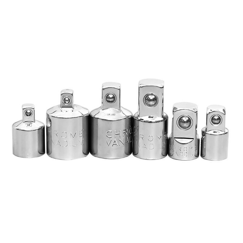 6Pcs Ratchet Wrench Socket Converter Head Sleeve Adapter 1/2 Big 3/8 1/4 Steel 12.5mm Household Ratchet Wrench Hand