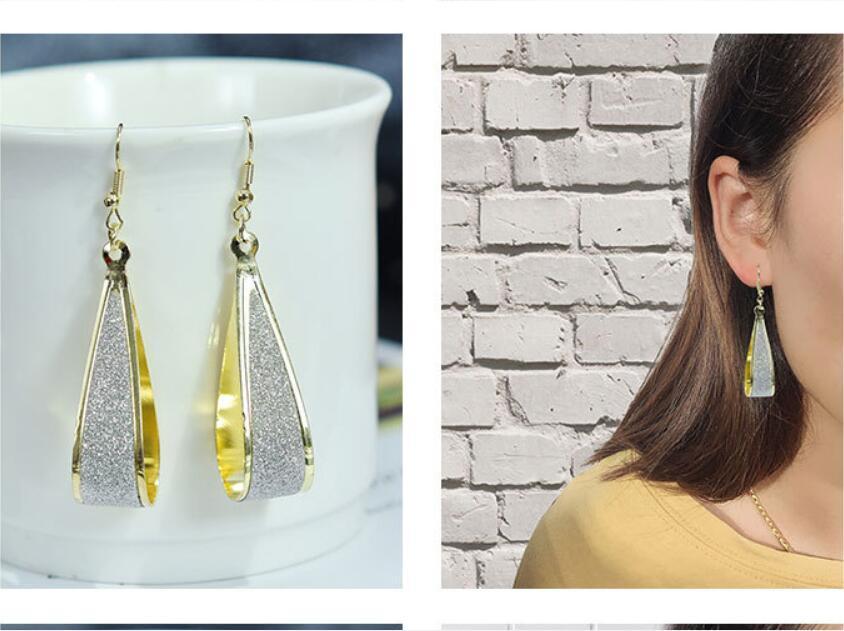 femme goutte d'eau bijoux Exagération Boucles d'oreilles ovales d'or noir rétro givré mode crochet d'oreille Dangle Lustre boucle d'oreille 6.8cm * 1.4cm