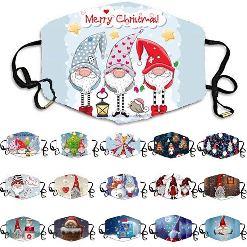 Máscaras Adulto de Natal de Santa Moose floco de neve Designer Cara da forma Máscaras lavável reutilizável Xmas Motif Máscara Designer Rosto