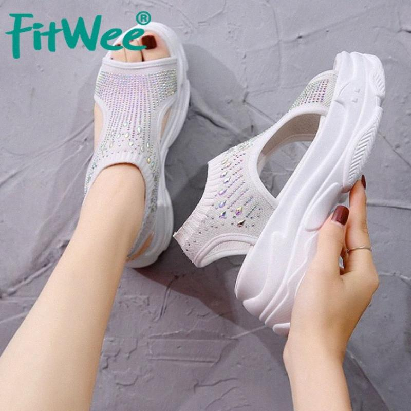 wOZd # W Boyutu ayakkabı 34 39 Kama Ayakkabı Elastik Açık Olağan Kadın Ayakkabı Bling FITWEE Kadınlar Sandalet Kalın Alt Moda Kadın Yaz Ayakkabı
