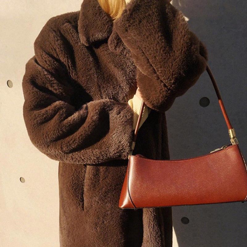 Subaxilar bolso baguette de la vendimia del bolso de hombro de las mujeres de Piel Mini retro bolsa de mensajero femenino Ladys Bolsa B SAJQ #
