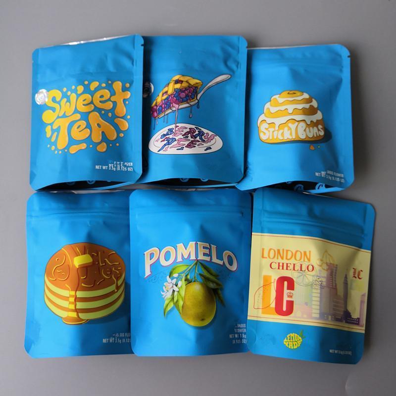 Sticky Dry Pfeffer Londonchello Zitrone Brötchen-Beeren-Bonbon Stripes Verpackung Jefe Beutel Tee 3.5g Kalifornien Obst Plätzchen Pie Blau Gelb WYFZe