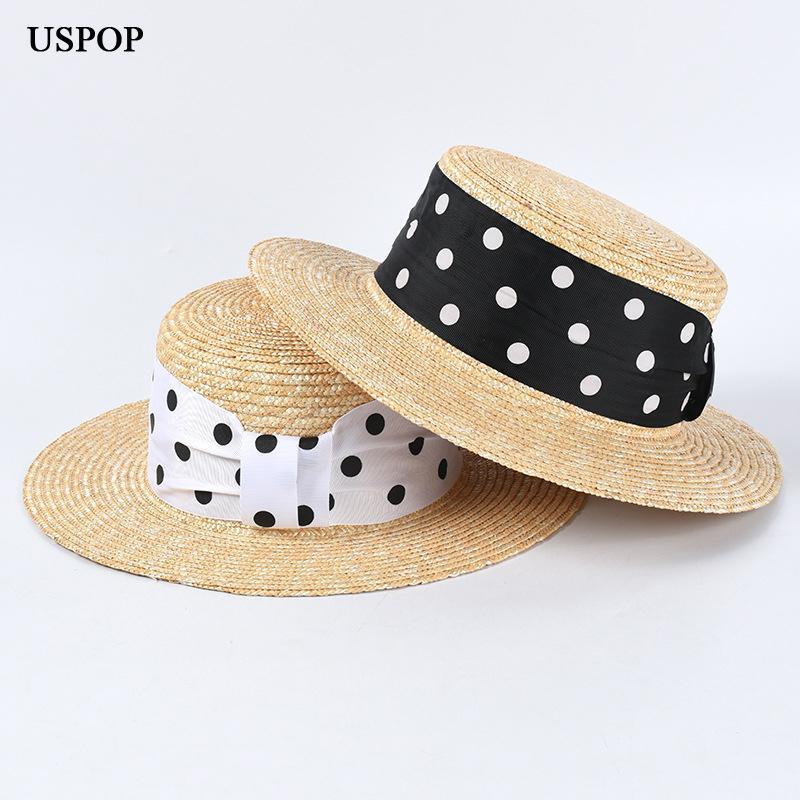 USPOP 2020 Nuove grano naturale cappelli di paglia cappelli di estate delle donne pois nastro spiaggia femminile piatta cima del sole