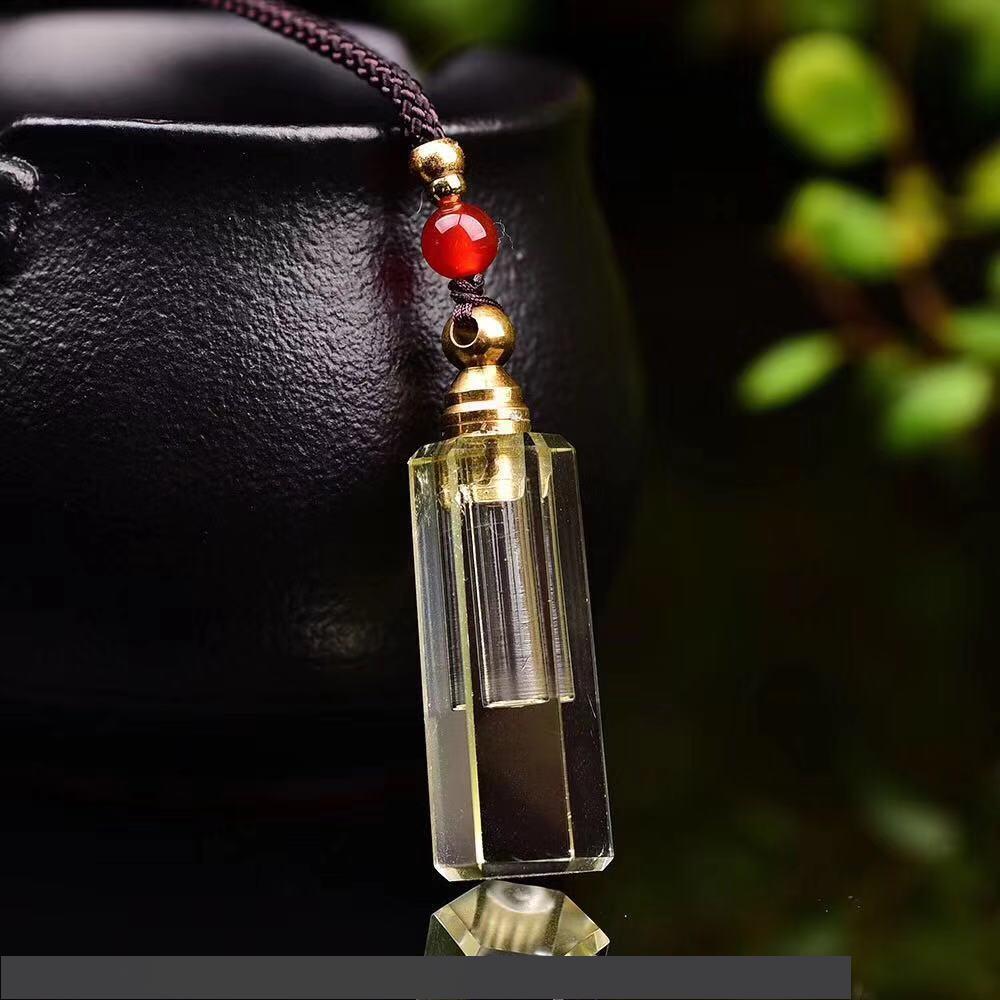 طبيعي السترين الأصفر زجاجة عطر قلادة قلادة للنفط الناشر الروائح الروحية ريكي الشفاء كريستال زجاجة هدية مجوهرات