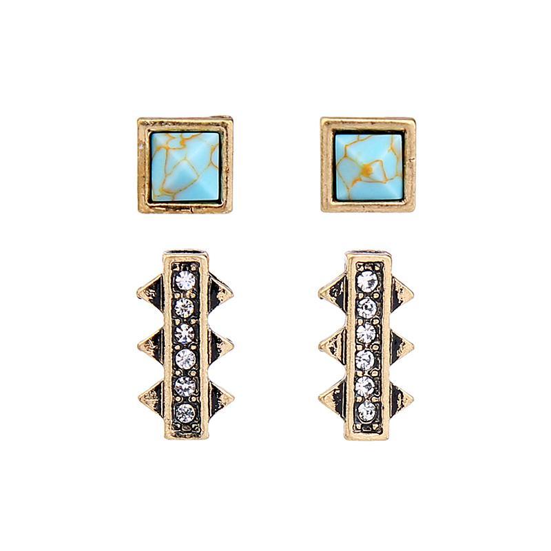 Blue Square Marbre synthétique Pierre Goujon boucles d'oreilles en cristal oreille Piercing Mode Petit Vintage Boucles d'oreilles en gros