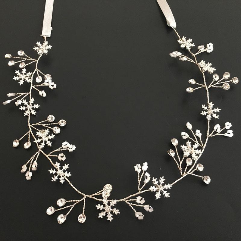 Accesorios para el cabello boda SLBRIDAL cristalino hecho a mano del copo de diamantes de imitación mujeres de la joyería Hairband venda nupcial damas