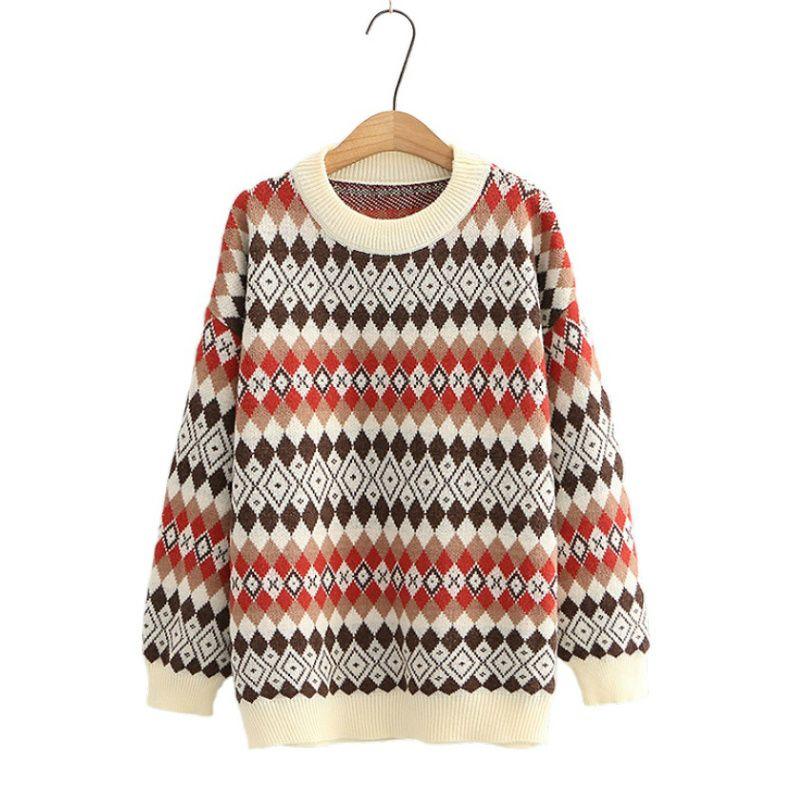 Женские свитера женщины Argyle вышивка вязаный пуловерный корейский стиль 2021 осень зима с длинным рукавом O-образным вырезом повседневные офисные дамы вершины