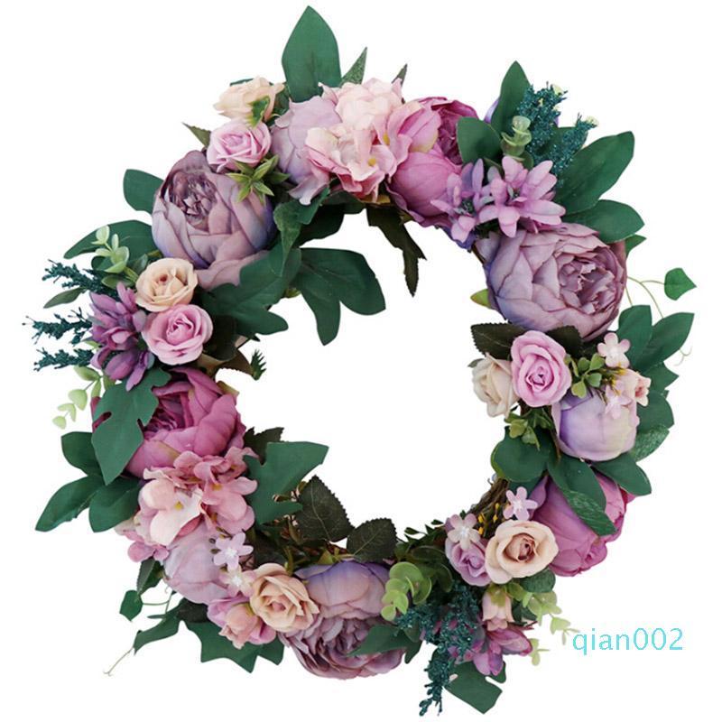 Fleurs artificielles Garland soie Couronnes de porte Parti tenture fenêtre Ornement de soirée de mariage Décoration