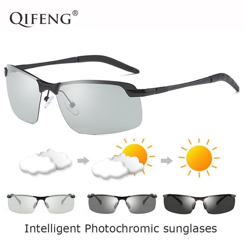 Qifeng polarisants photochromiques Lunettes de soleil Hommes Marque Designer Pilote Lunettes de soleil pour UV400 Homme Conduite Pêche Oculos de QF171
