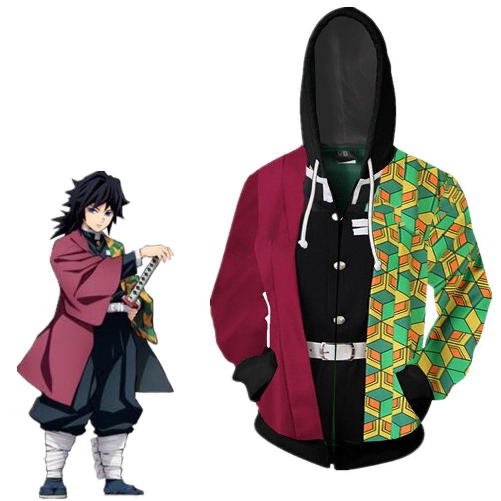 Cadılar Bayramı Unisex Anime Demon Slayer Kimetsu Yok Yaiba Cosplay Kostüm Tomioka Giyuu 3D Coat Casual Ceket Fermuar Hoodie