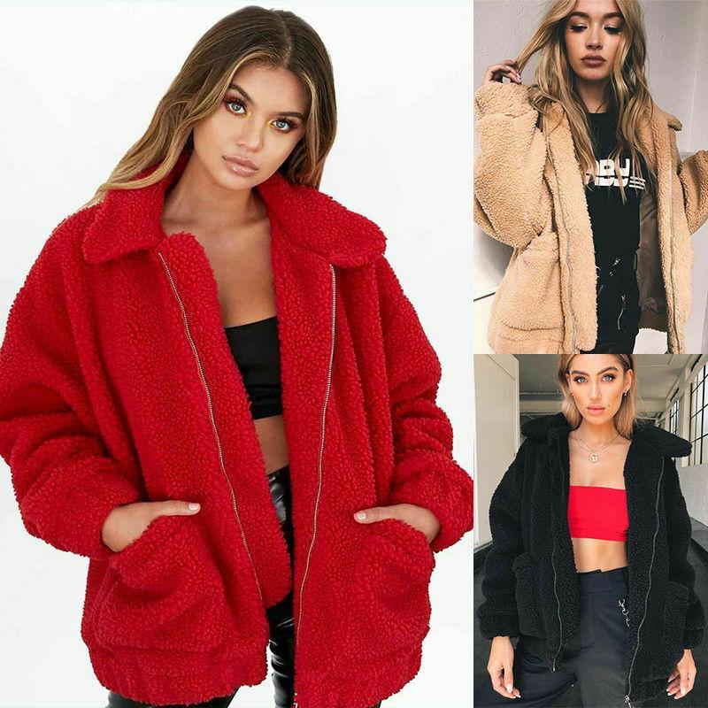 2020 Brasão da forma do inverno ou outono Womens Fluffy velo Cardigan Top Jacket Ladies Oversized camisola Jumper
