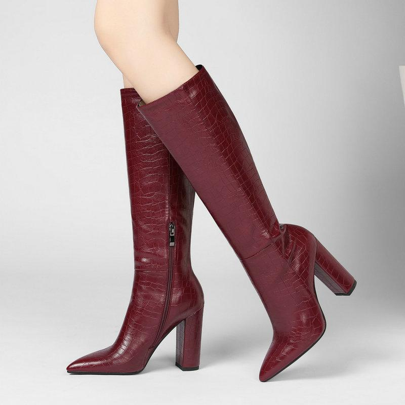 Faux Leather Print Knee High Boots Woman Fashion Pointed Toe Block High Heel Long Boots Woman Black Beige Wine Red Winter