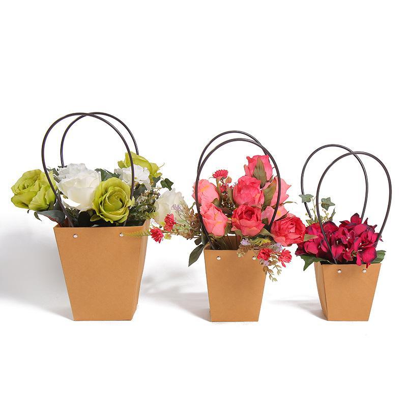 Sacos de papel kraft de flores com Rose Caixas decoração dia partido Handle Waterproof Packing Bouquet Florist Gift Box Namorados