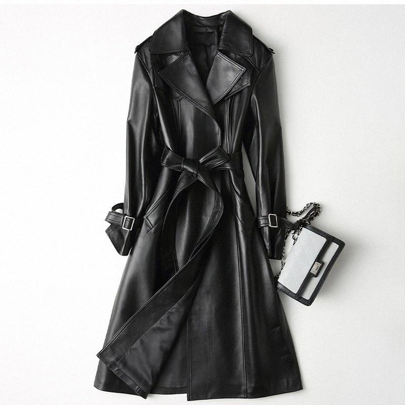 Veste en cuir pour femme en cuir véritable Coats femme avec ceinture Gu longue veste synthétique winterizer Raincoat Femme peau NVVF #