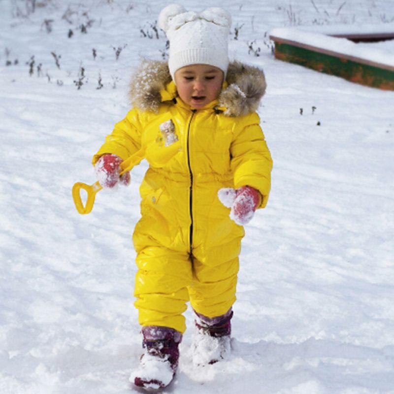 Inverno Russia Ragazzi Bambina Bambino Snowsuit tuta del bambino Bianco anatra Piumini complesso Bambini reale Raccoon pelliccia con cappuccio pagliaccetti Y8
