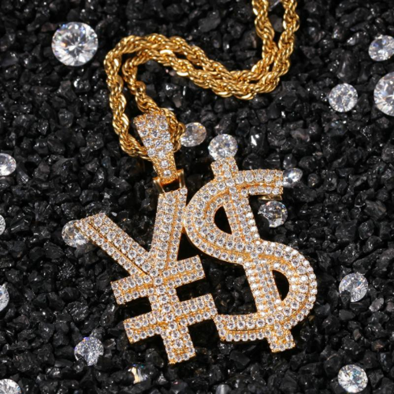 Fashion Rapper Jewelry Gifts Hip Hop Gold Plated Cubic Zirconia Iced Out Charms Full Diamond US Dollar Money Sign Pendant Necklace for Guys