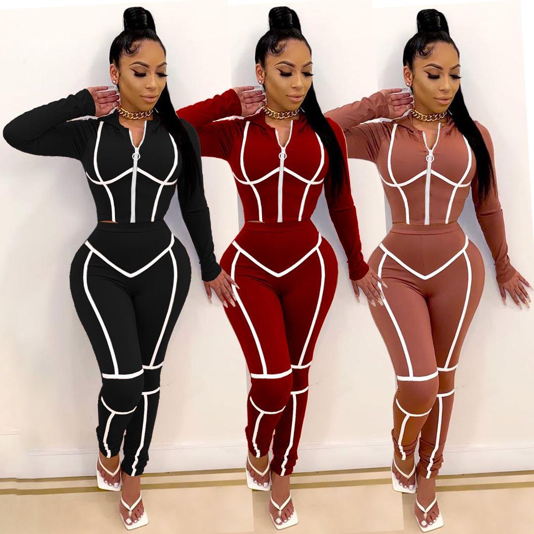 Frauen Anzug Sexy Fitness Leger 2-teiliges Set Anzug für Frauen Striped geerntete Jacken und Hosen Jogger Two Piece Outfits