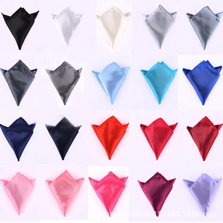 Wedding Party Plain Sólidos lenço lenço lenço Tie Hanky cetim diário Ternos quadrado do bolso lenço cny2234