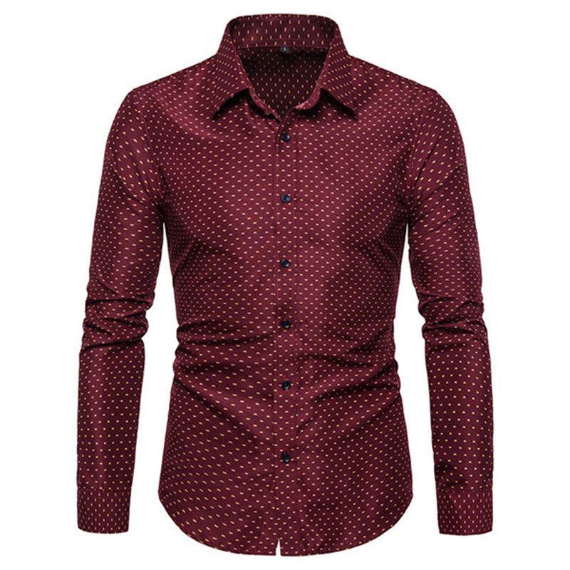 Mens Dress Shirts Designer-Tupfen-Langarm-dünne Baumwollmischung Tees Mode-Revers-Ansatz-dünner Homme Tops