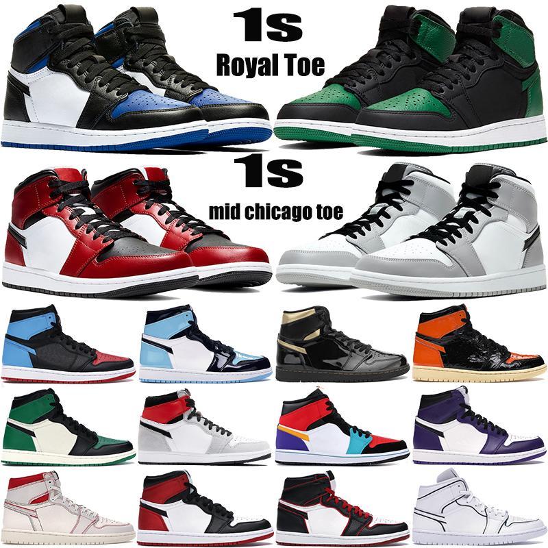 1 الجديدة عالية OG أحذية كرة السلة 1S الملكي تو السوداء الصنوبر الخضراء المحكمة سوداء الأرجواني الأبيض UNC براءات الاختراع من الرجال والنساء حلاق أحذية رياضية المدربين