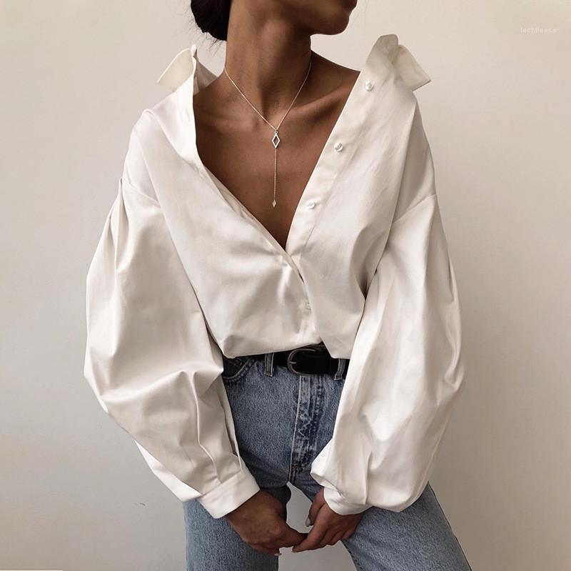 Gömlek Casual Katı Siyah Bayan Bluzlar Gömlekler Tasarımcı Beyaz Gömlek Moda Fener Kol Yaka Boyun Womens