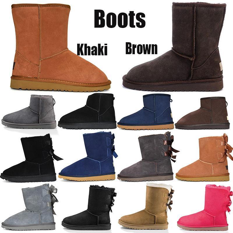 2020 Moda Hombres Mujeres Clásico botas de nieve largo del tobillo arco corto botas de piel de diseño para el Negro Castaño invierno de arranque zapatos ocasionales de la plataforma 35-45
