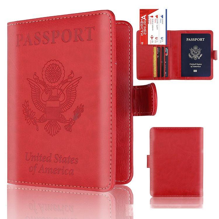 Amerikanischen Pass-Kasten-Mappen RFID Blocking 4-Karten-Slots Abdeckung ID Halter PU-Leder-Reisepass 50pcs / lot