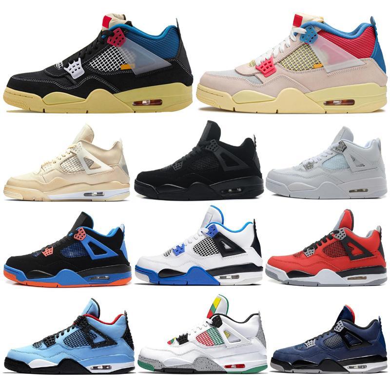 Nova União 4s Homens tênis de basquete Flint Hiper Royal 4 Bred Gato Preto Cinza frio Mens Trainers Outdoor Sports Sneakers Com Box