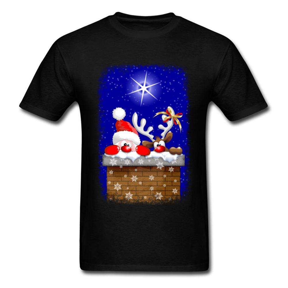 Maglietta del cotone di Natale Notte maglietta degli uomini del fumetto della stampa maglietta Babbo Natale e renne 3D vestiti carini regalo di natale magliette